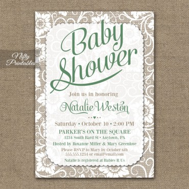 Gender Neutral Baby Shower Invitations - Green White Lace