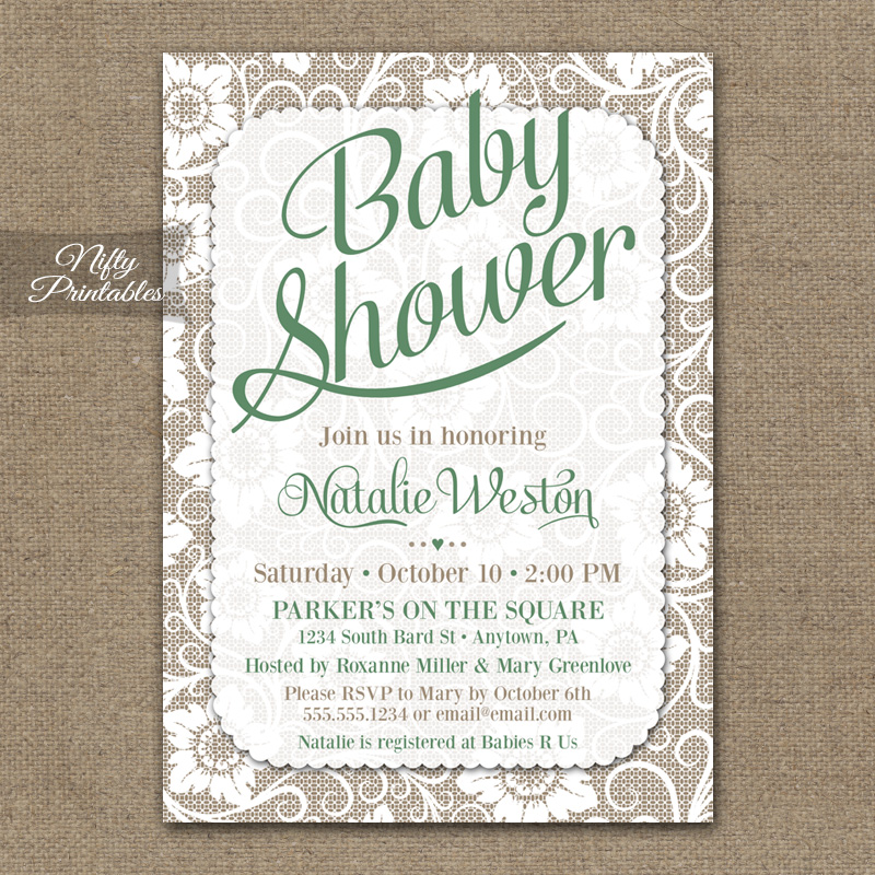 Gender Neutral Baby Shower Invitations - Green White Lace - Nifty ...