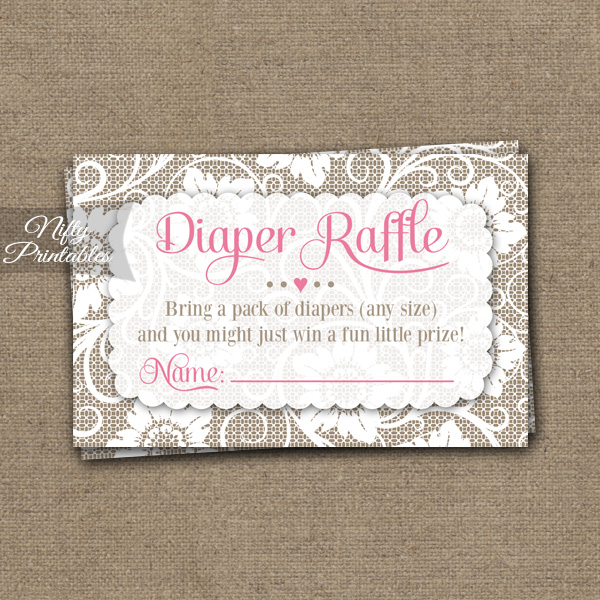 Lace Diaper Raffle Girl Baby Shower - Pink