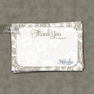 White Lace Blue Personalized Flat Thank You Cards