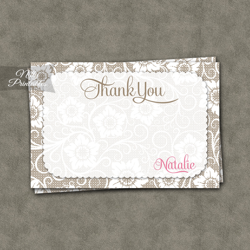 White Lace Pink Personalized Flat Thank You Cards