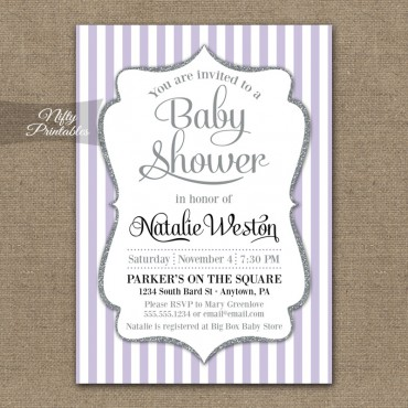 Lilac Silver Stripes Gender Neutral Shower Invitations