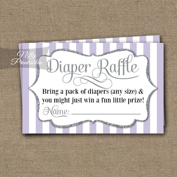 Diaper Raffle Baby Shower - Lilac Silver