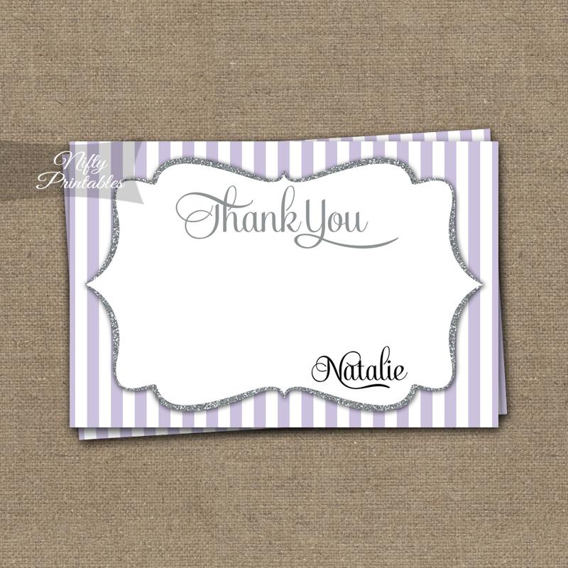 Lilac Silver Stripes Gender Neutral Shower Invitations
