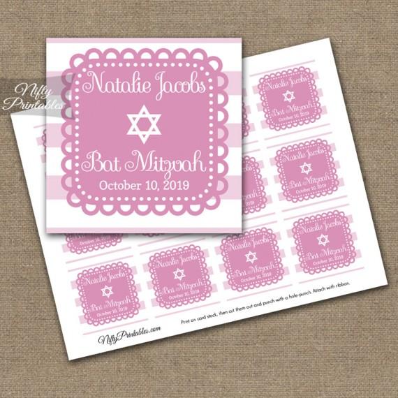 Pink White Bat Mitzvah Favor Tags