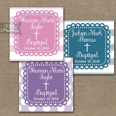 Blue Purple or Pink Baptism Favor Tags - Loopy