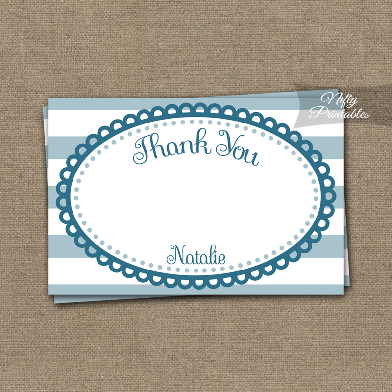 Blue Loops Personalized Flat Thank You Cards
