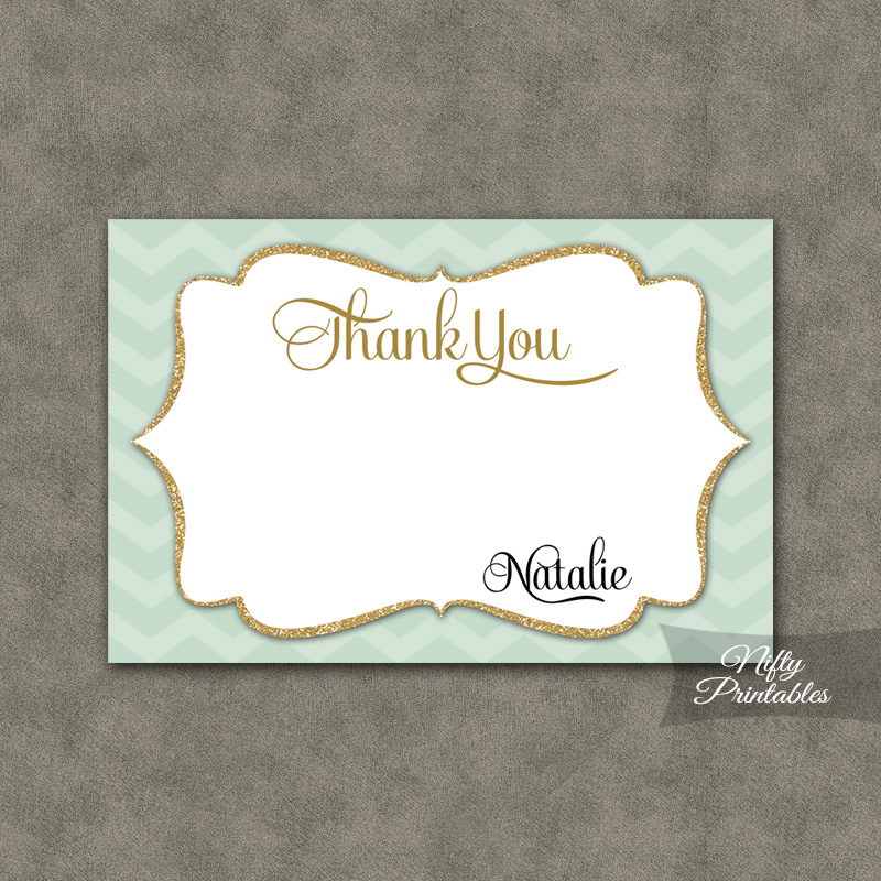 Mint Chevron Gold Personalized Flat Thank You Cards