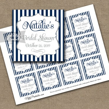 Shower Favor Tags Navy Blue Silver