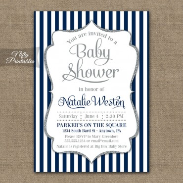 Navy White Silver Boy Shower Invitations