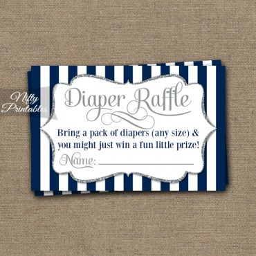 Diaper Raffle Baby Shower - Navy Blue Silver