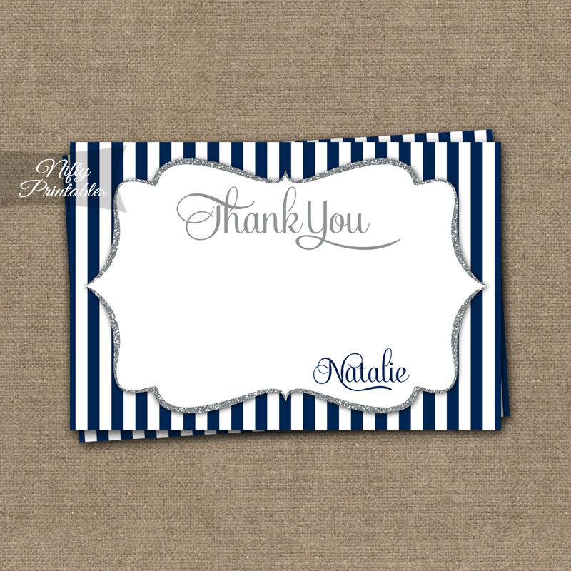 Navy Silver Stripe Personalized Flat Thank You Cards