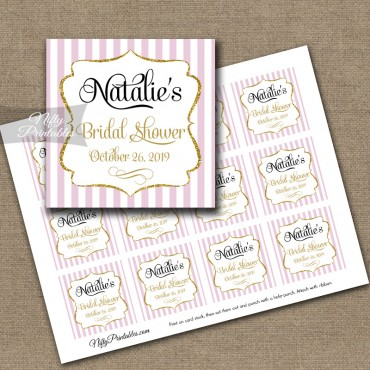 Printable Favor Tags - Pink Gold Shower