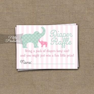 Pink Elephant Diaper Raffle Girl Baby Shower