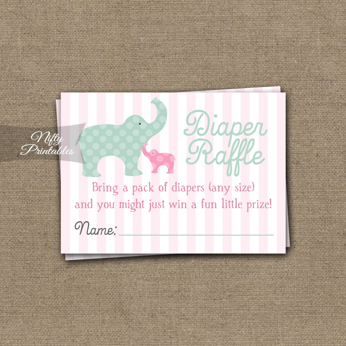 Pink Elephant Diaper Raffle Girl Baby Shower