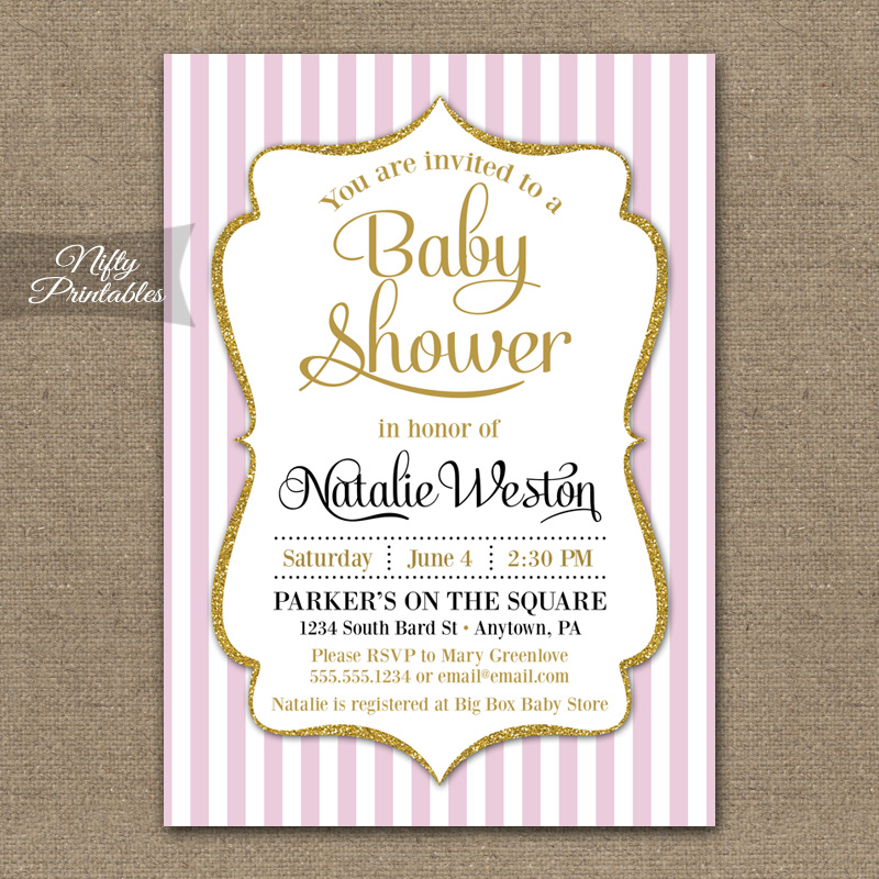 Pink Gold Baby Girl Shower Invitations Nifty Printables
