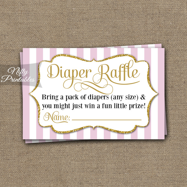 Diaper Raffle Baby Shower - Pink Gold