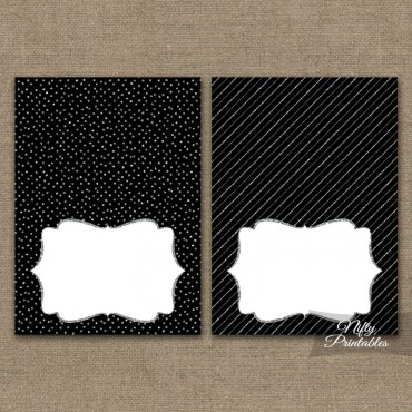 Black Silver Solid Blank Place Cards or Tent Cards
