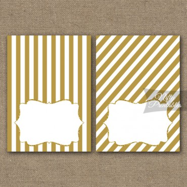 Gold Stripe Blank Place Cards or Tent Cards
