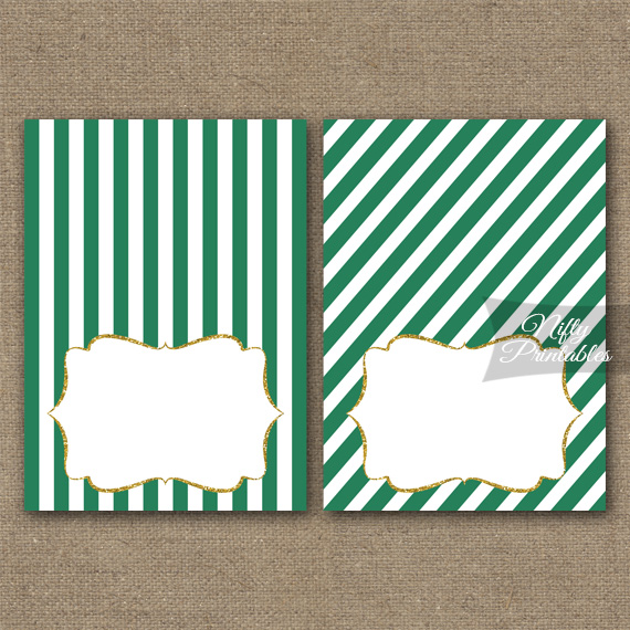 Green Gold Blank Place Cards or Tent Cards