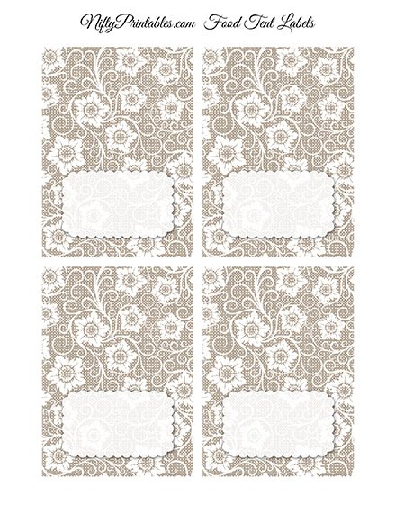 White Lace Blank Place Cards or Tent Cards