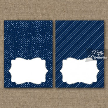 Navy Blue Silver Solid Blank Place Cards or Tent Cards