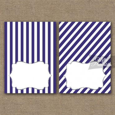 Purple Silver Blank Place Cards or Tent Cards