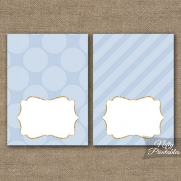 Blue Dots Blank Place Cards or Tent Cards