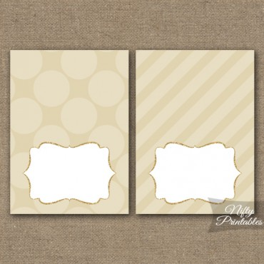 Cream Dots Blank Place Cards or Tent Cards