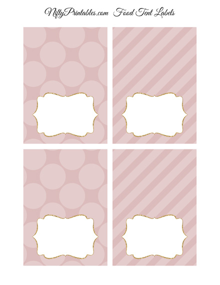 Pink Dots Blank Place Cards or Tent Cards