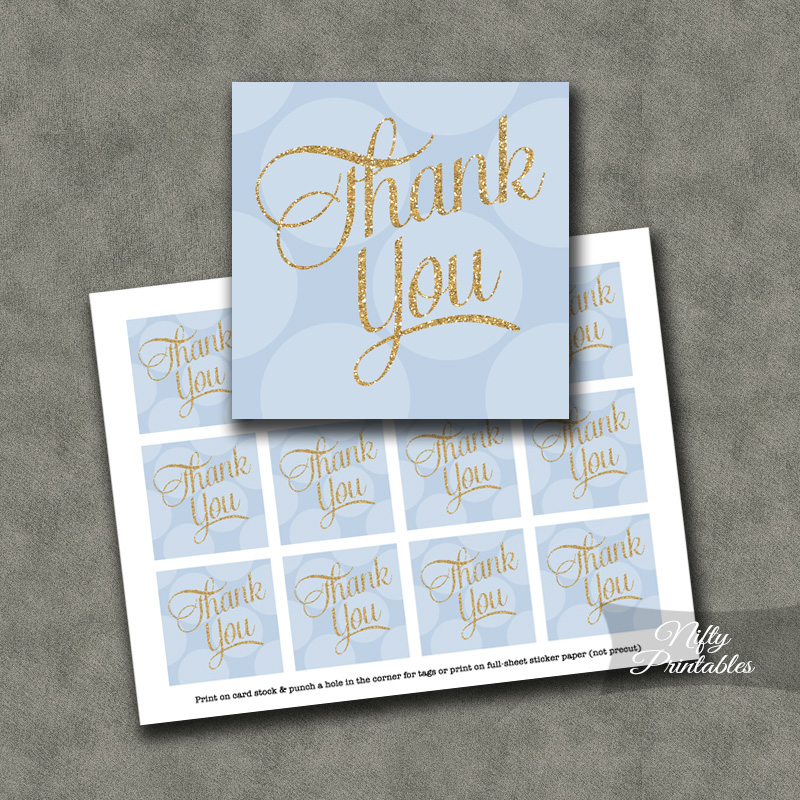 Blue Dots Thank You Favor Tags SQ