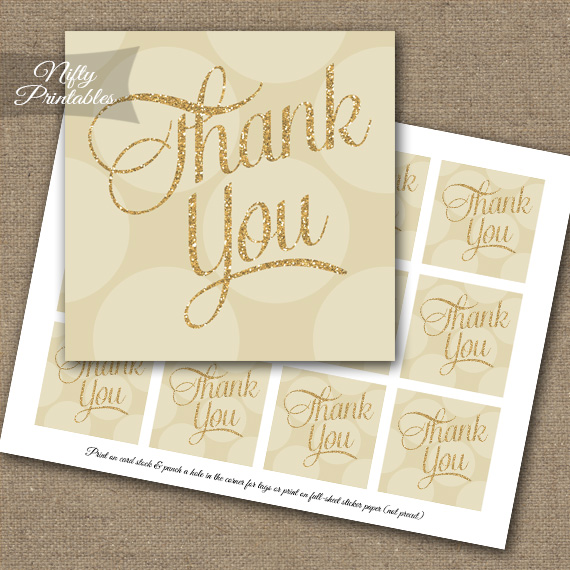 Cream Dots Thank You Favor Tags SQ