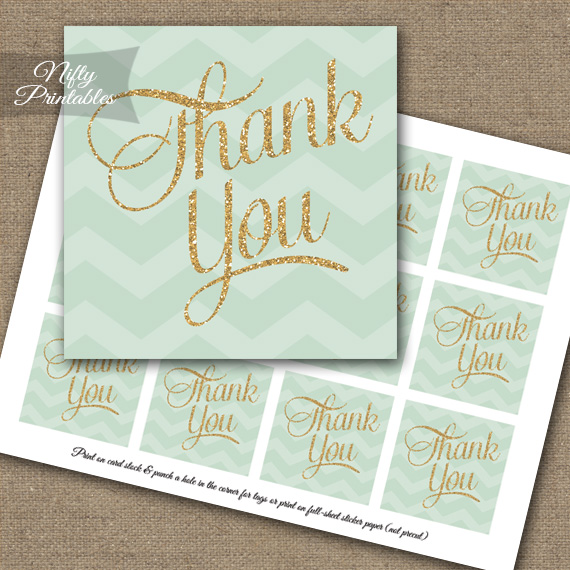 Mint Chevron Thank You Favor Tags SQ