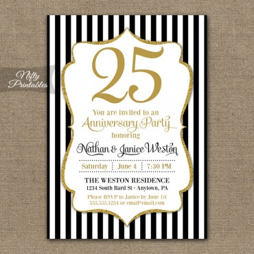 Black Glitter Anniversary Invitations