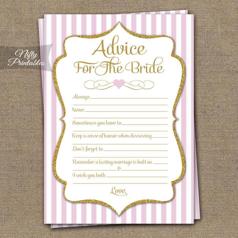 printable bridal shower advice cards pink gold