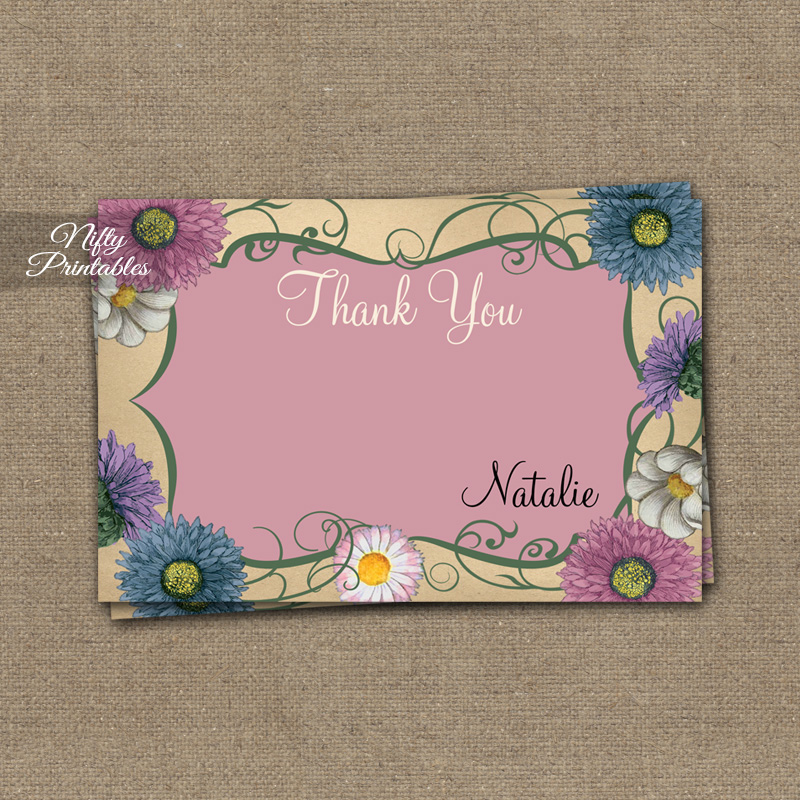Pink Floral Swirl Personalized Thank You Cards