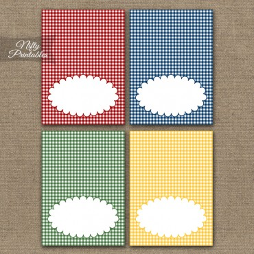 Gingham Picnic Blank Place Cards or Tent Cards