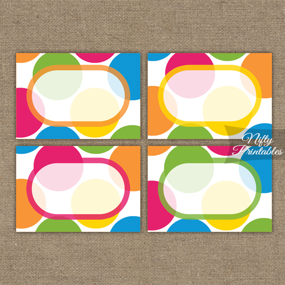 Bright Colorful Blank Labels Nametags