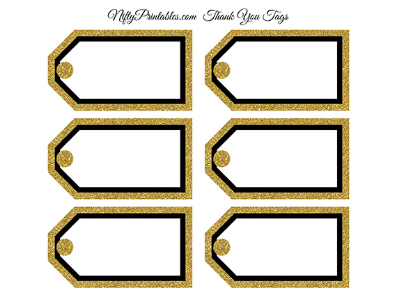 Blank Favor Tags - Black Gold Glitter