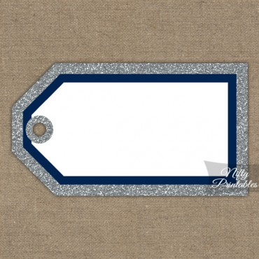 Blank Favor Tags - Navy Silver Glitter
