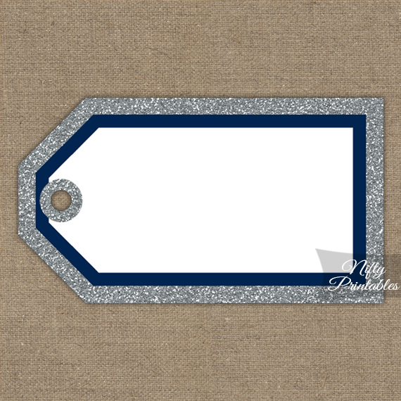 Blank Favor Tags - Navy Silver Glitter