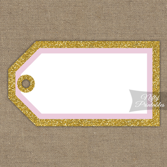 Blank Favor Tags - Pink Gold Glitter