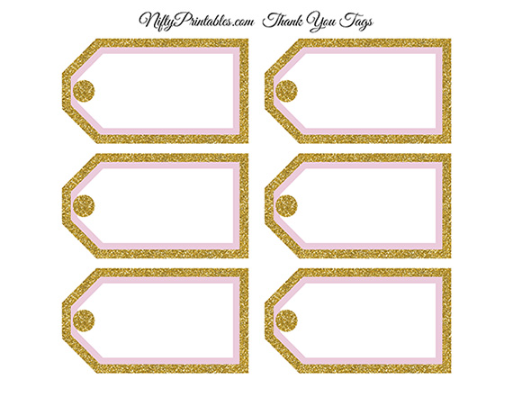 blank favor tags pink gold glitter