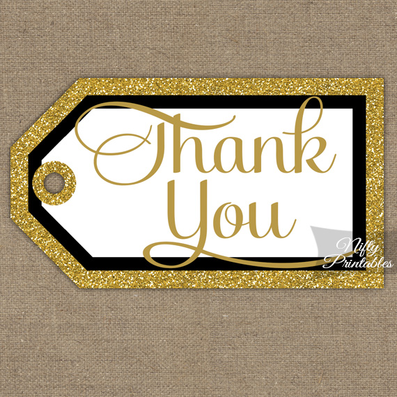 Black Gold Thank You Tags - Rectangle