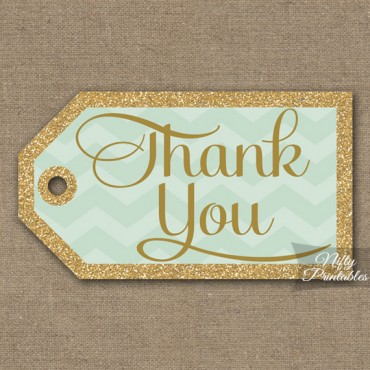 Mint Green Thank You Tags - Chevron Rect