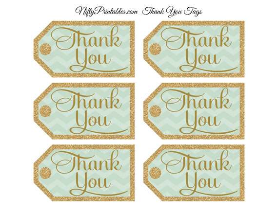 Mint Green Thank You Tags - Chevron Rectangle