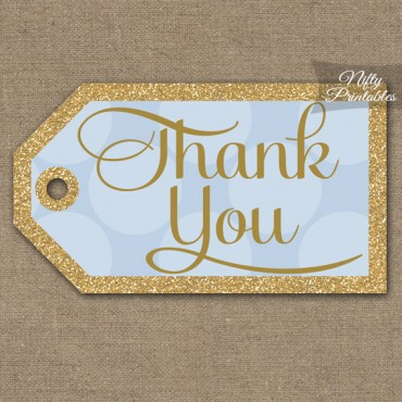 Blue Thank You Tags -  Dots Rect