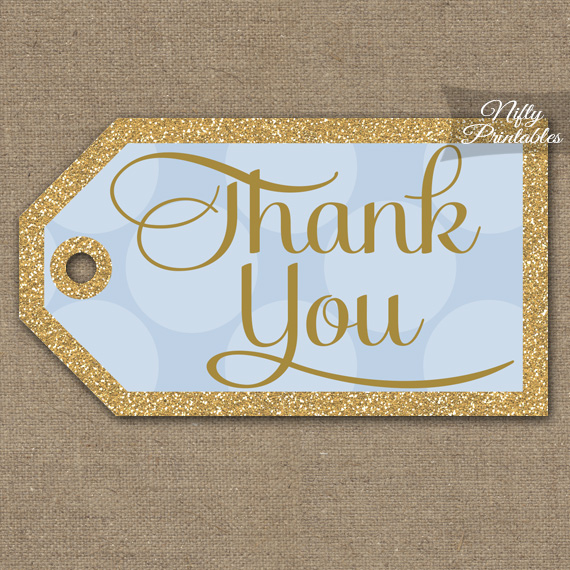 Blue Thank You Tags -  Dots Rectangle
