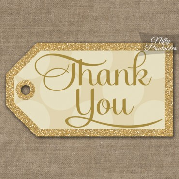 Cream Thank You Tags - Dots Rect