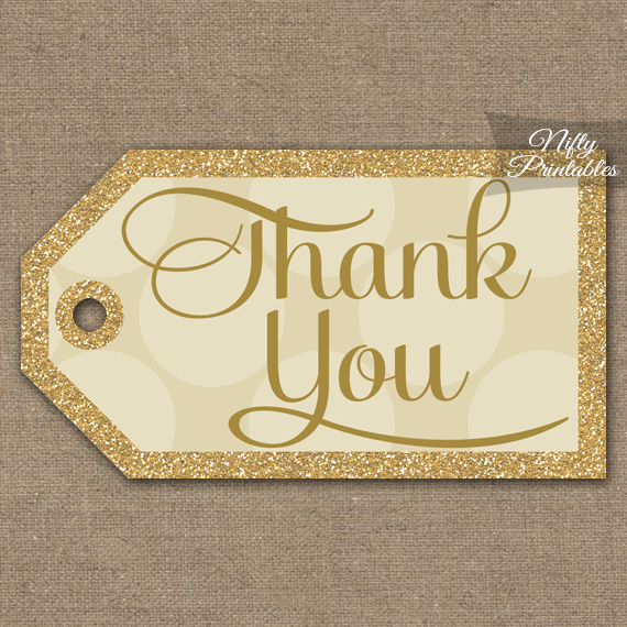 Cream Thank You Tags - Dots Rectangle